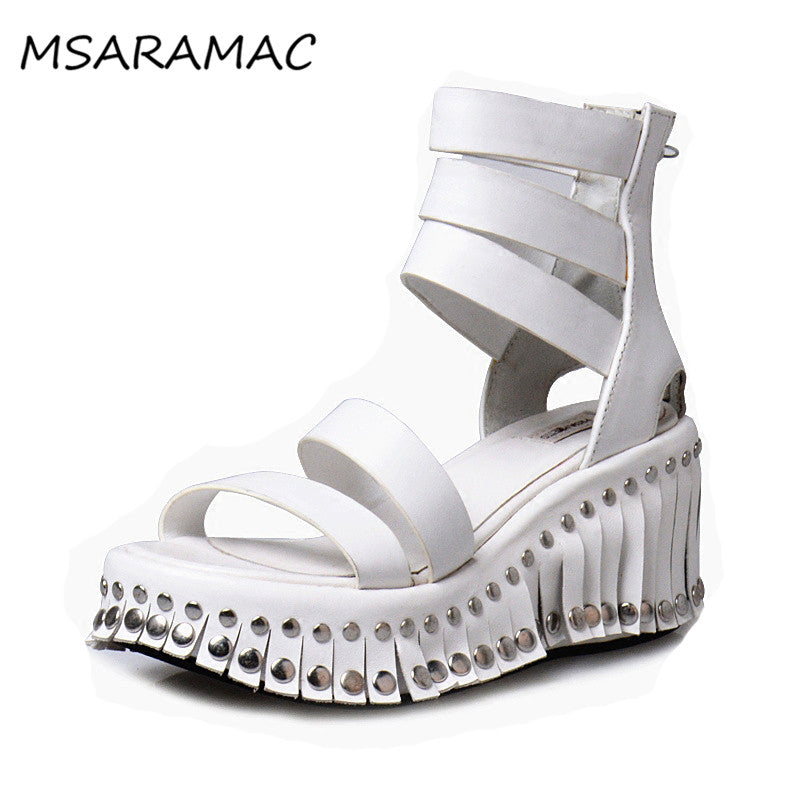 659debf8ab8 ... Bohemian Summer Sandals Tribal Fashion White Leather Studed Fringed  Wedge Sandals Ankle Strappy Gladiator Shoes Women ...