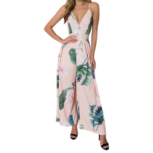 e2b2d352a824 ... Boho Floral Printed Elegant Jumpsuits Summer Beach Sexy V-neck Strap  Women Playsuits Loose Wide
