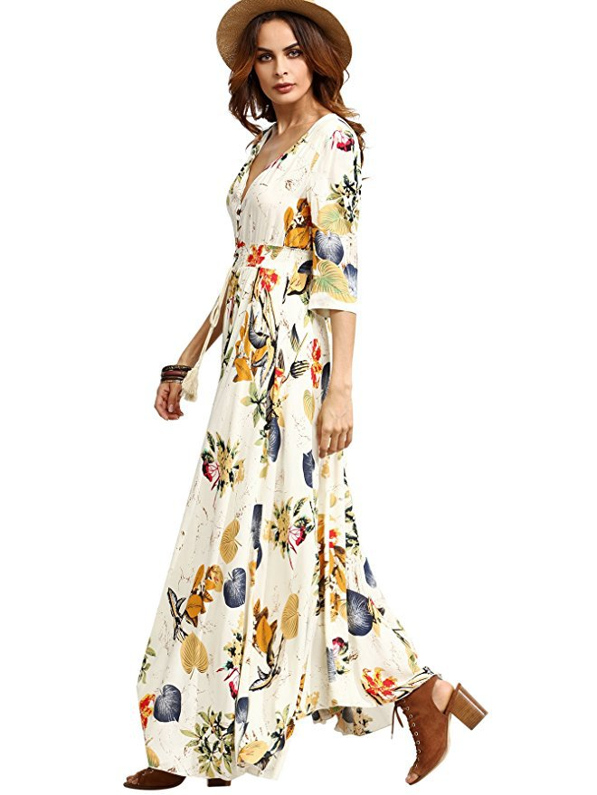 3e482cc6f6 Boho Style Long Dress Women Short Sleeve Beach Summer Dresses Floral Print  Vintage Maxi Dress Vestidos De Festa Plus Size