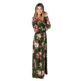 Boho Women Maxi Dresses Floor-length Navy V Neck Long Sleeve Womens Autumn beach dresses Elegant Floral Long Party Dress EY11