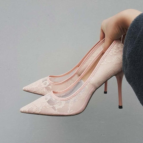 Boussac Elegant Lace Women Pumps High Heels Transparent Flower Lace Wedding Shoes Women Pointed Toe Sexy Party Shoes SWB0107