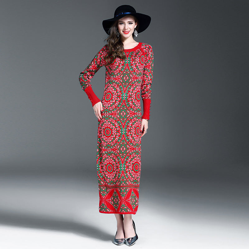 42822b1a Hover to zoom · Brand Design Winter Dress for Women Wool Knitted Dresses  O-Neck Long Sleeve Vintage Jacquard