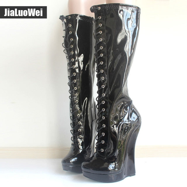 6554057e177e Brand New Ballet Boots Lace-up 18cm Wedge heel with strange Heel 3CM  Platform Patent Leather Sexy Fetish Zipper Knee High boots