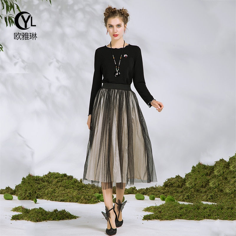 Brand New Plus size 5XL 2018 spring set Women sets twinset women\'s western  style suit top+Skirt Blouse& long skirts cloth