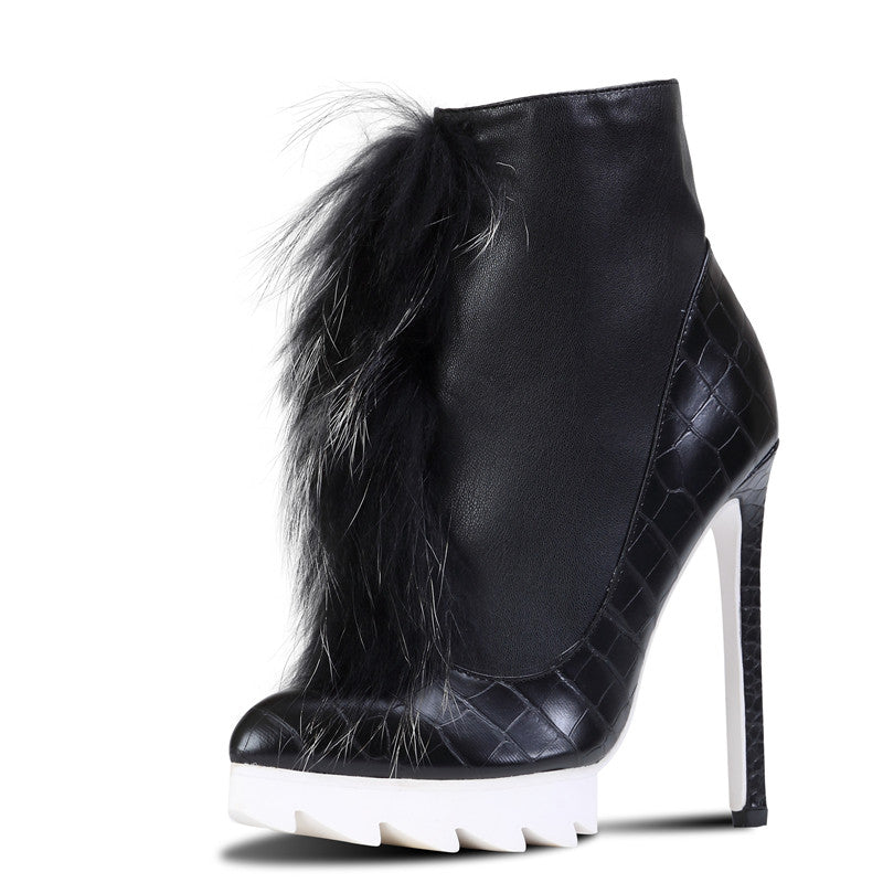 329306cb373 ... Brand Pink Palms high heels ankle boots for women winter snow boots  with fox fur thick ...