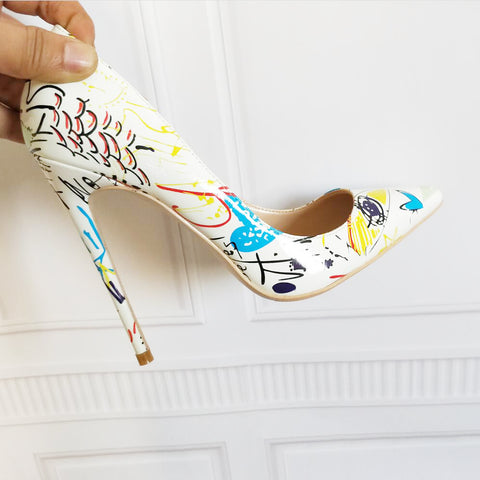 Brand Shoes Women High Heels 12 CM Women High Heels Gift Shoes High Heels White Printed High Heels