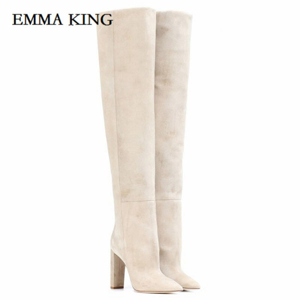 Brand Women Beige Gray Suede Pleated Long Boots Chunky Heels Outside Autumn Winter Shoes BigSize Straight-tube Long Boots