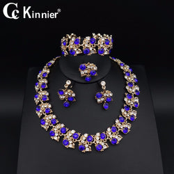 Bridal wedding jewelry sets gold-color Party Gift Fashion blue zircon necklace earrings bracelet ring african beads jewelry sets
