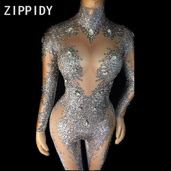 Bright Big Rhinestones Gray Pattern Jumpsuit Stretch Leggings Nightclub Singer Dancer Show Wear Women's Prom Party Sexy Bodysuit