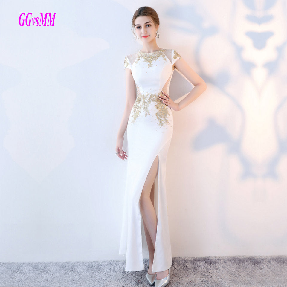 Brilliant White Mermaid Evening Gowns 2018 Long Formal Dresses O ...