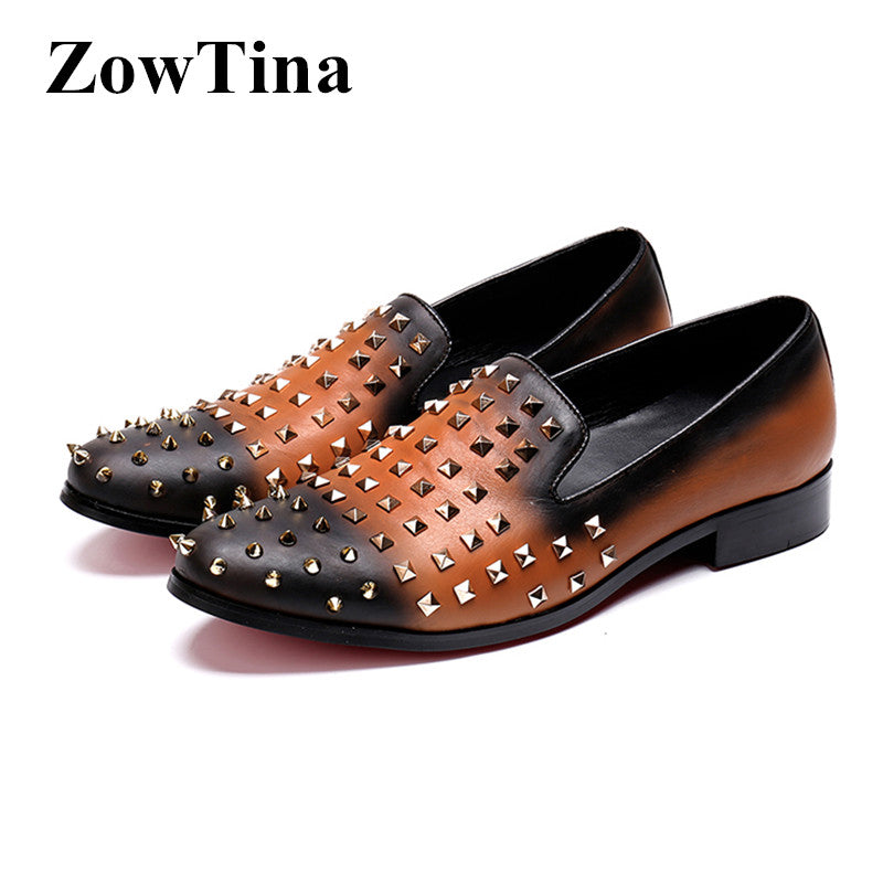 0391ae21aa9 Hover to zoom · Brown Leather Mixed Black Men Casual Flats Slip On Rivets  Studded Dress Wedding Shoes Design Creepers