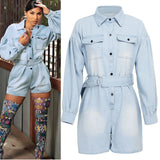 Button-Front Belted Denim Romper Women Plus Size Long Sleeve Casual Solid Blue Spring Fall Streetwear Rompers