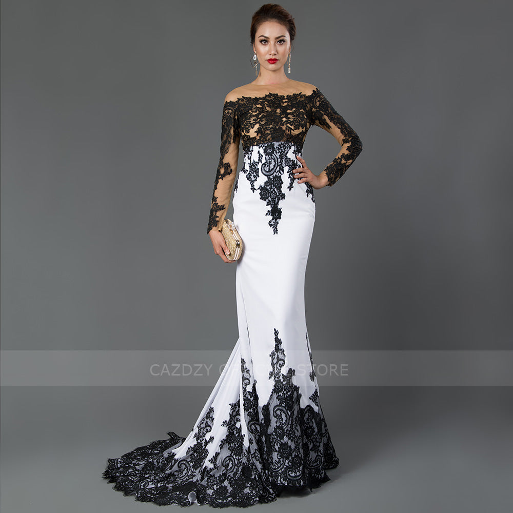 ... CAZDZY Long Sleeve Mermaid Evening Dresses Appliques black lace sweep  train formal dress for Women 74437a3c47