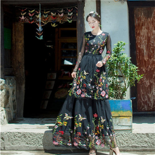 2f62498c305 Hover to zoom · CBAFU high quality floral embroidery cake long maxi dress  long sleeve white black runway mexican dress