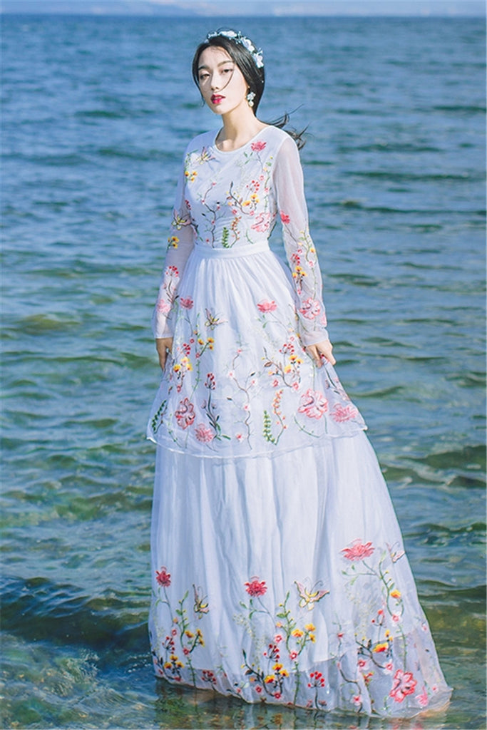 43d53277a7e46 CBAFU high quality floral embroidery cake long maxi dress long sleeve white  black runway mexican dress vestidos X273