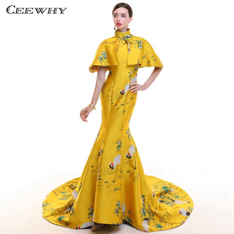 CEEWHY Vintage Saudi Arabia Evening Dresses with Cape High Neck 3D Print Floral Prom Dress Formal Evening Gown Abendkleider