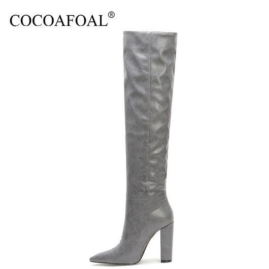 COCOAFOAL Fashion Women's Cowboy Boots Knee High Boots Woman Shoes Sexy Mid Calf Boots Pointed Toe Straight Knee High Boots 2019