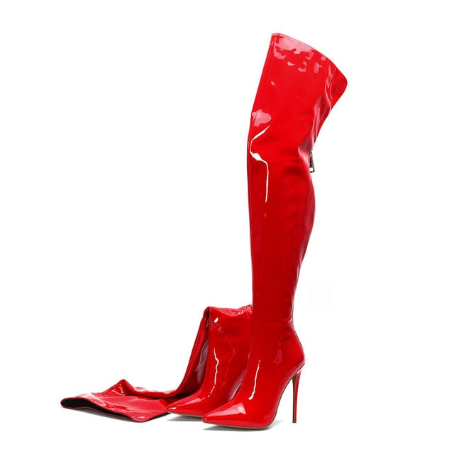 c705a485654 COCOAFOAL Sexy Women's Over The Knee Boots Woman Patent Leather High High  Boots Plus Size Fashion Over The Knee Boots Thigh High