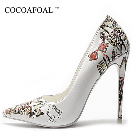 Stiletto heel shoes Wedding Girls high heels Faux leather party Pumps plus size
