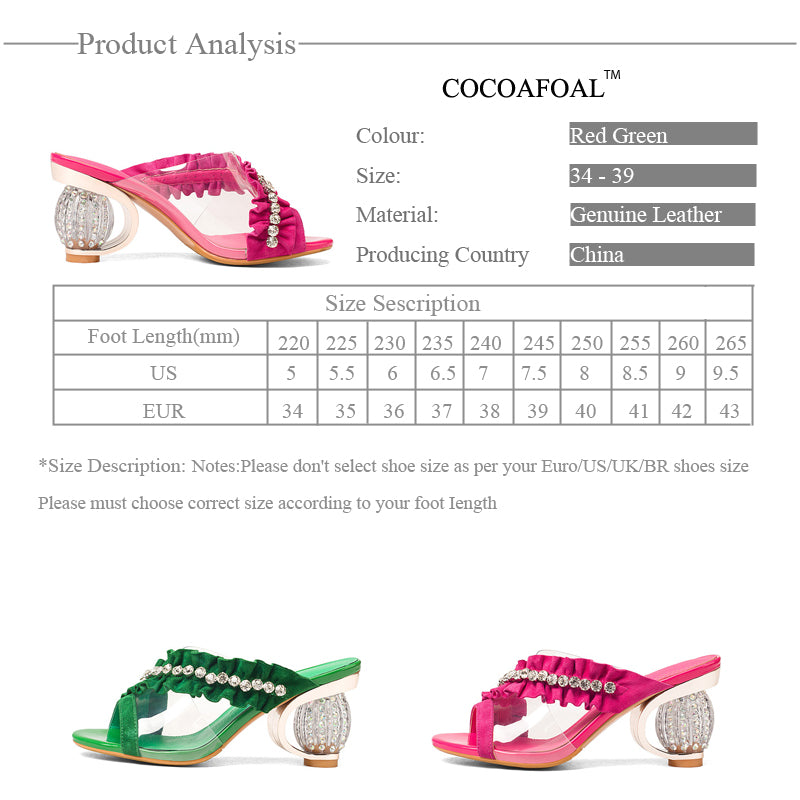 4c09393411 COCOAFOAL Women's Transparent Slides New Summer Green High Heels Shoes Open  Toe Sexy Rose Red Crystal Sandbeach Slides 2018