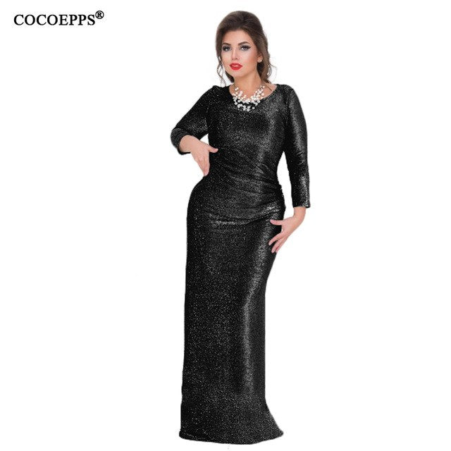 COCOEPPS 2019 5XL 6XL Plus size Winter Dresses Shiny evening party ...