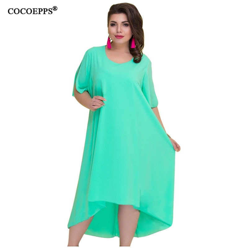 3b923b75984f6 COCOEPPS Casual Loose Plus Size Summer Dresses Women 2019 Irregular Long  Dress Big Size Vintage Dress Large Sizes Vestidos 6XL
