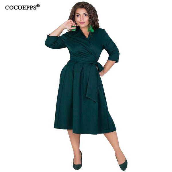5aae745a82774 COCOEPPS L-6XL Women Dresses Plus Size Autumn Winter Dress Elegant Loose  Clothes Large Size Casual Office Long sleeve Vestidos