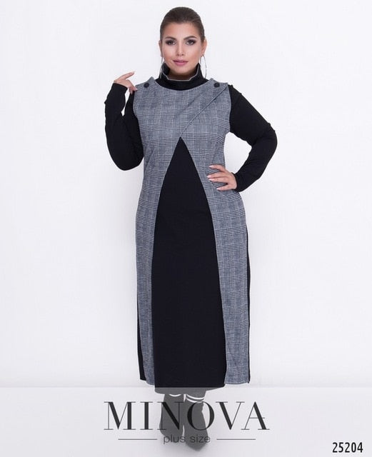COCOEPPS Plus Sizes Women Clothes Plaid Winter dress 5XL 6XL Dresses ...