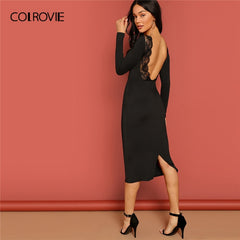 COLROVIE Black V Neck Backless Pencil Lace Dress Women 2019 Spring Long Sleeve Bodycon Midi Party Dress Elegant Ladies Dresses