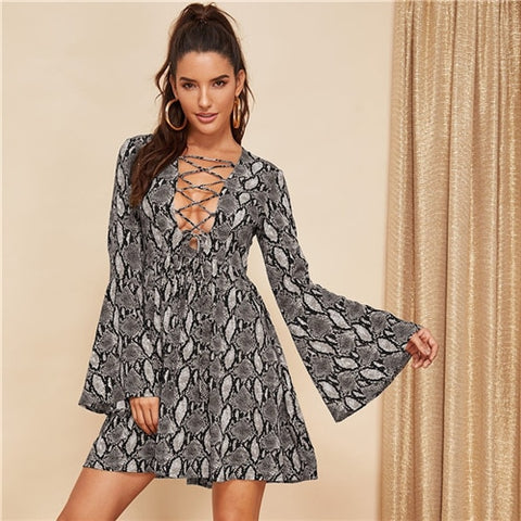 COLROVIE Deep V Neck Lace Up Snake Skin Print Sexy Dress Women 2019 Spring Flounce Sleeve A Line Dress Club Ladies Mini Dress