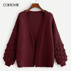 COLROVIE Maroon Solid Crochet Bishop Sleeve Casual Cardigan Sweater Women 2019 Spring Fashion Office Ladies Elegant Sweater Coat