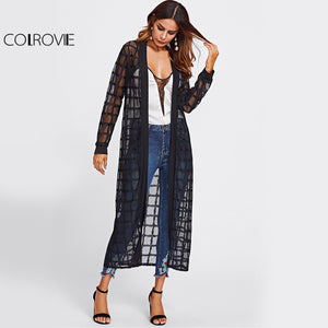 1283f5db5a833c COLROVIE Plaid Mesh Longline Kimono Women Black Semi Sheer Sexy Casual  Spring Blouse 2017 Fall Long ...
