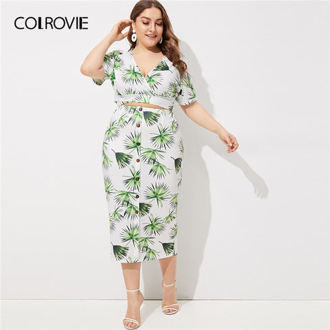 baa79902e71 ... Piece Set. Click to expand. PrevNext. Image of COLROVIE Plus Size V  Neck Tropical Print Crop Top With Button Midi Skirt Two ...