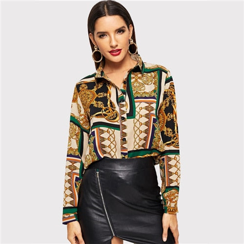 1e8ec9571362 Hover to zoom. PrevNext. Image of COLROVIE Scarf Print Curved Vintage Satin  Blouse Women Clothing 2019 ...