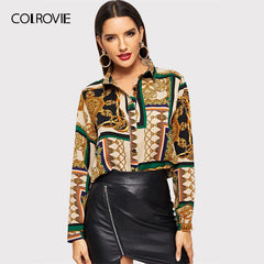 COLROVIE Scarf Print Curved Vintage Satin Blouse Women Clothing 2019 Spring Fashion Long Sleeve Shirt Ladies Tops And Blouses