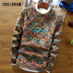 COSIDRAM 2018 New Fashion Mens Sweater Casual Male Clothing Long Sleeve Knitted Pullovers Winter Thick Sweater Men MC-004