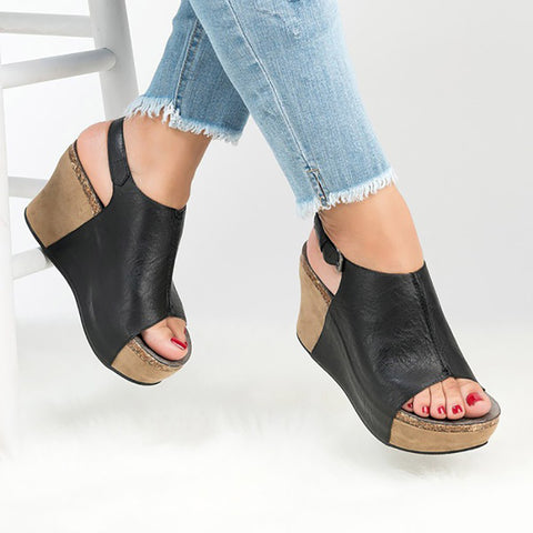 COSIDRAM Summer Women Sandals Fashion Elegant Platform Shoes Sexy Solid Female Women Wedge Heels Sandals Plus Size 42 43 SNE-111