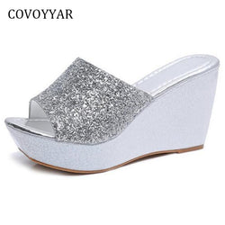 COVOYYAR Bling Wedge Shoes Women Slippers 2018 Fashion Summer Glitter Women Sandals Platform Ladies High Heels WSS920