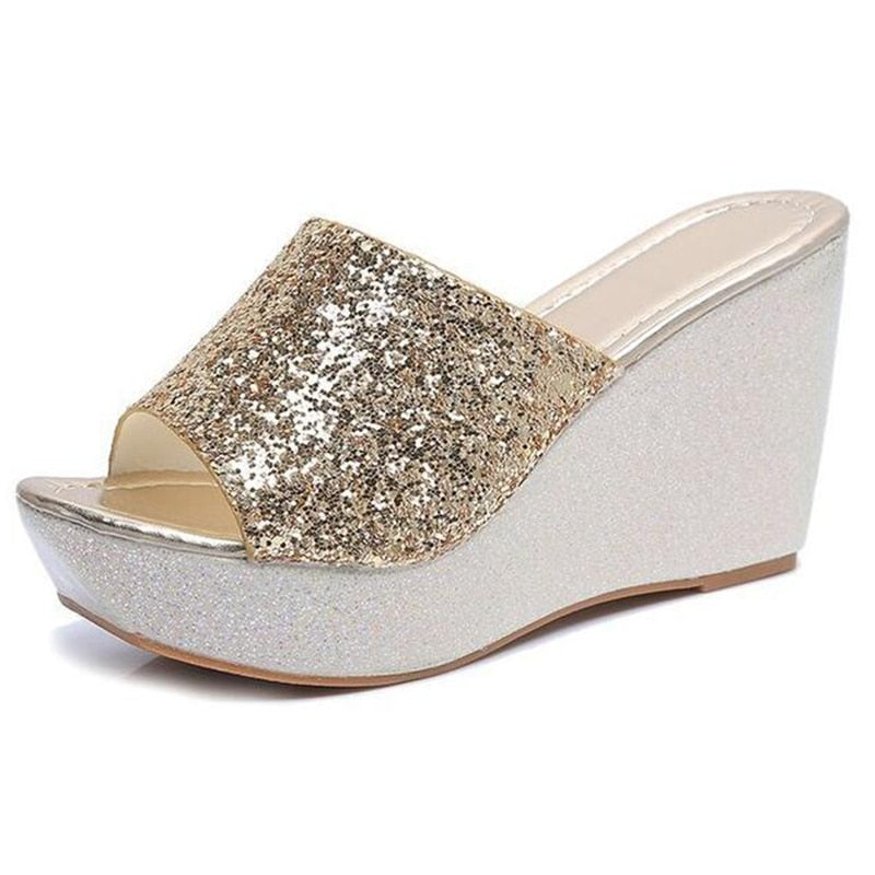 2fa82b7d6ef ... COVOYYAR Bling Wedge Shoes Women Slippers 2018 Fashion Summer Glitter  Women Sandals Platform Ladies High Heels ...