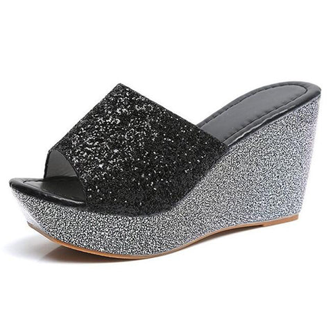 eb85726eb ... Image of COVOYYAR Bling Wedge Shoes Women Slippers 2018 Fashion Summer  Glitter Women Sandals Platform Ladies ...