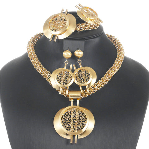 CWEEL Big Chain Jewelry Sets For Women African Beads Jewelry Set Nigerian Wedding Dubai Turkish Indian Jewellery Set