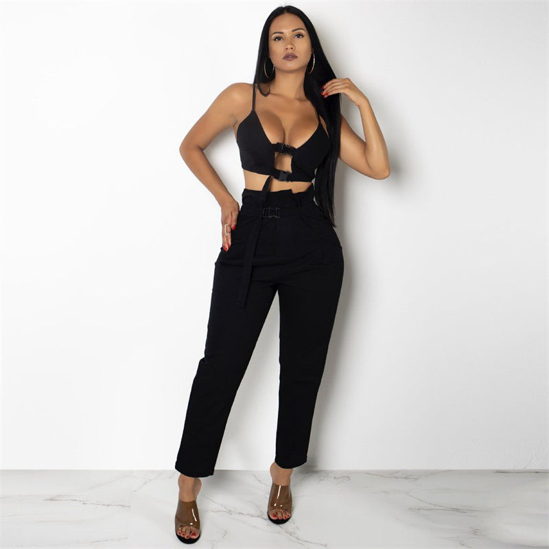 ... CWLSP 2018 Buckles Hollow Out Women s Suit Two Piece Set Sexy Crop Tops  And Fashion Overall f91946218356