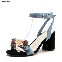 Carpaton 2018 New PU Leather Flowers Princess Pearl Sandals Sanding Sheepskin Square High Heels Fashion Women Beach Shoes