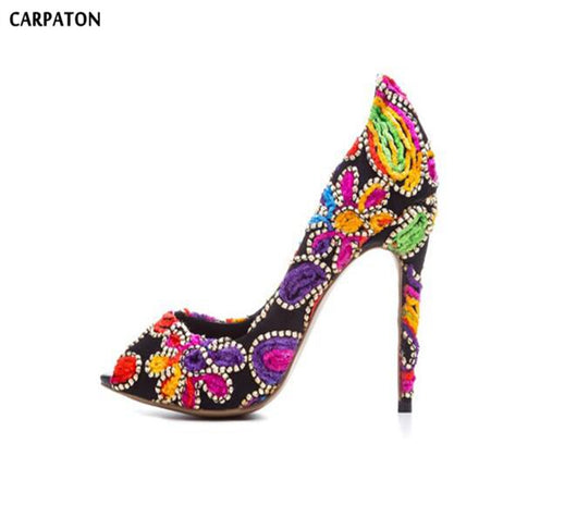Carpaton 2018 Newest Retro Embroider Style Peep Toe Open Toe model Women Thin High Heels Fashion Shallow Cover Heel Women Shoes