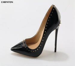 Carpaton 2018 Newest Women Classic Pure black pumps with one-turn rivet Thin high heels Pointed Toe Casual/Office models