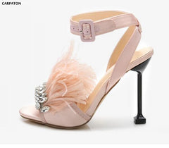 Carpaton Bling Bling Crystal Embellished Wedding Shoes 2018 Sexy Feather Decorations Thin Heels Sandal Ankle Strap Dress Shoes