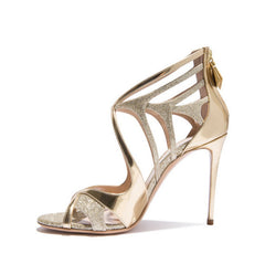 Carpaton Gold Glitter Embellished High Heel Sandal Sexy Open Toe Cutouts Thin Heels Woman Shoes Cross-tied Summer Sandal