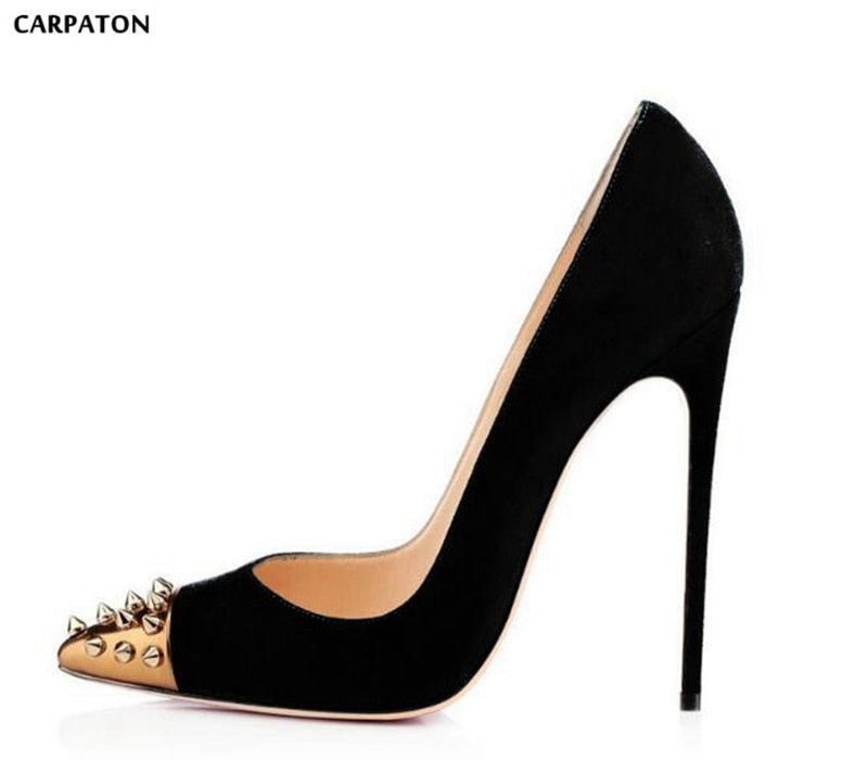 b562650546fa Carpaton New Fashion Black Suede High Heel Shoes 2018 Pointed Toe Woman  Pumps Gold Rivets Studded ...