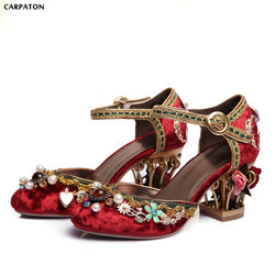 Carpaton New Folk-custom Retro Crystal Appliques Sandals Fashion flower pot heels Red Wedding Shoes Show Embroidered shoes