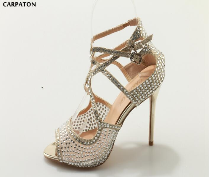3d2d04e3d625 Carpaton Newest Crystal Embellished High Heel Sandal Sexy Peep Toe Ankle  Strap Thin Heels Woman Shoes. Hover to zoom